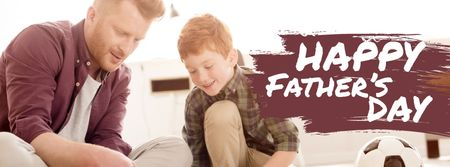 Father's Day Greeting Dad Playing with Son Facebook cover Modelo de Design