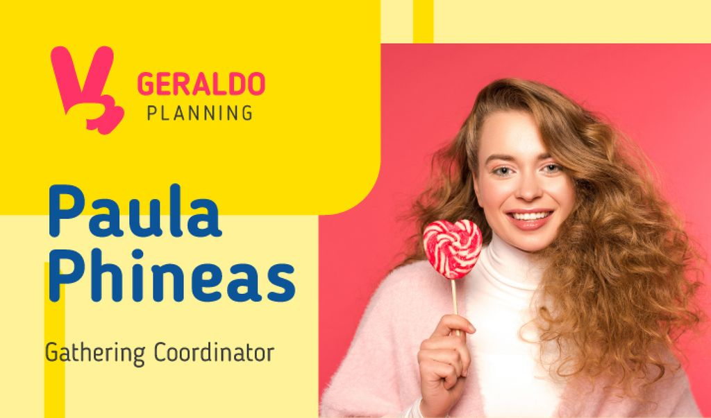 Gathering Coordinator Contacts Girl with Lollipop — Crea un design