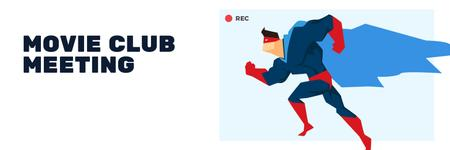 Movie Club Meeting Man in Superhero Costume Twitter Modelo de Design