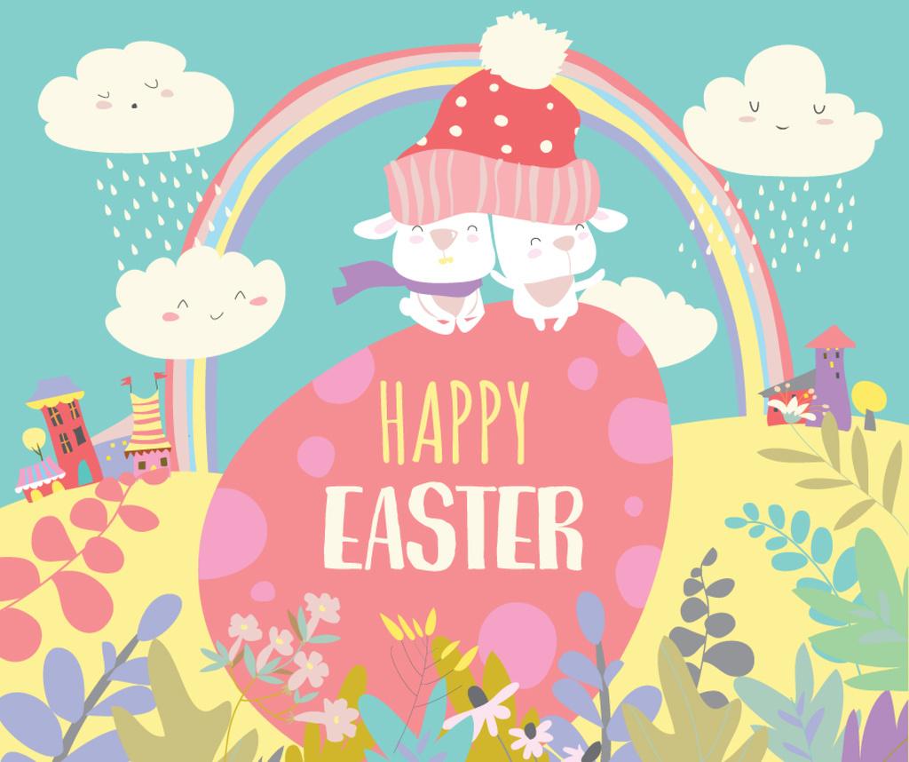 Cute bunnies on Easter Egg Facebook Design Template