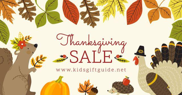 Plantilla de diseño de Thanksgiving Sale with Cute Animals Facebook AD