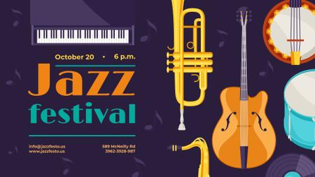 Jazz Festival invitation Various Musical Instruments FB event cover Tasarım Şablonu