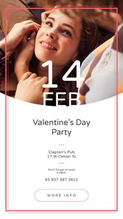 Valentine's Day Party Annoucement with Loving Couple Instagram Story Modelo de Design