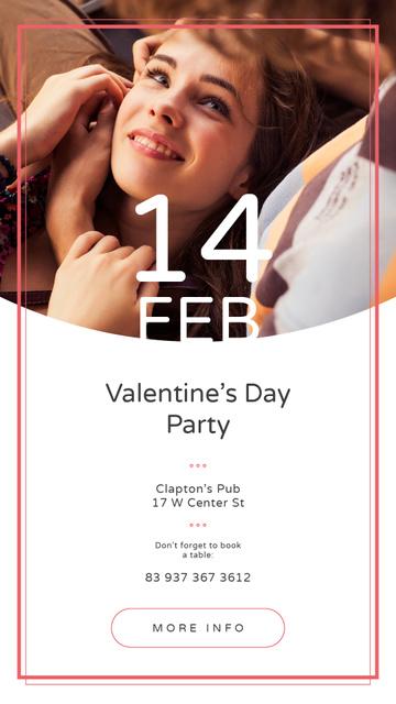 Plantilla de diseño de Valentine's Day Party Annoucement with Loving Couple Instagram Story