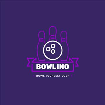 Bowling Club Ad with Ball and Pins | Logo Template
