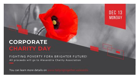 Ontwerpsjabloon van Title van Corporate Charity Day announcement on red Poppy