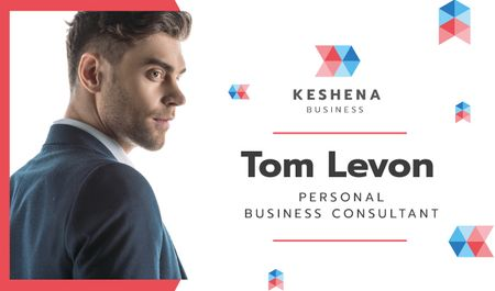 Business Consultant Contacts with Confident Businessman Business card Modelo de Design