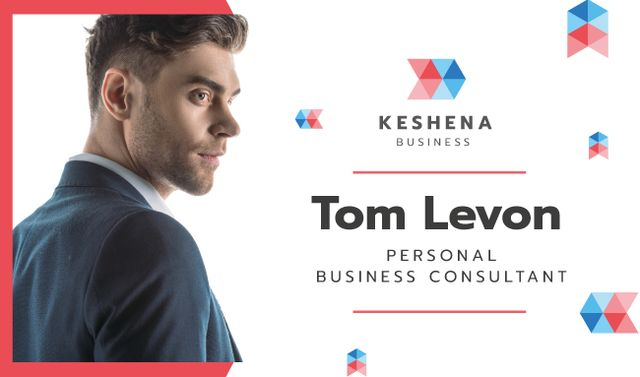 Business Consultant Contacts with Confident Businessman Business card Design Template