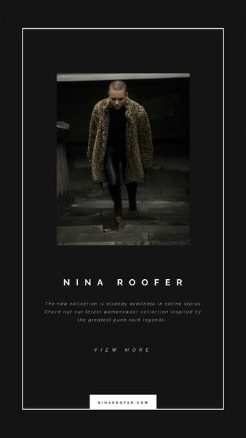 Stylish Woman in Winter Clothes Instagram Video Story – шаблон для дизайну