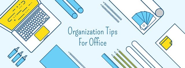 Organization tips for office Facebook cover Modelo de Design