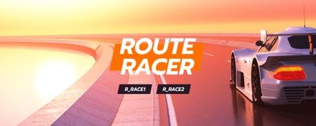 Ontwerpsjabloon van Twitch Profile Banner van Race Stream Ad with Car at sunset