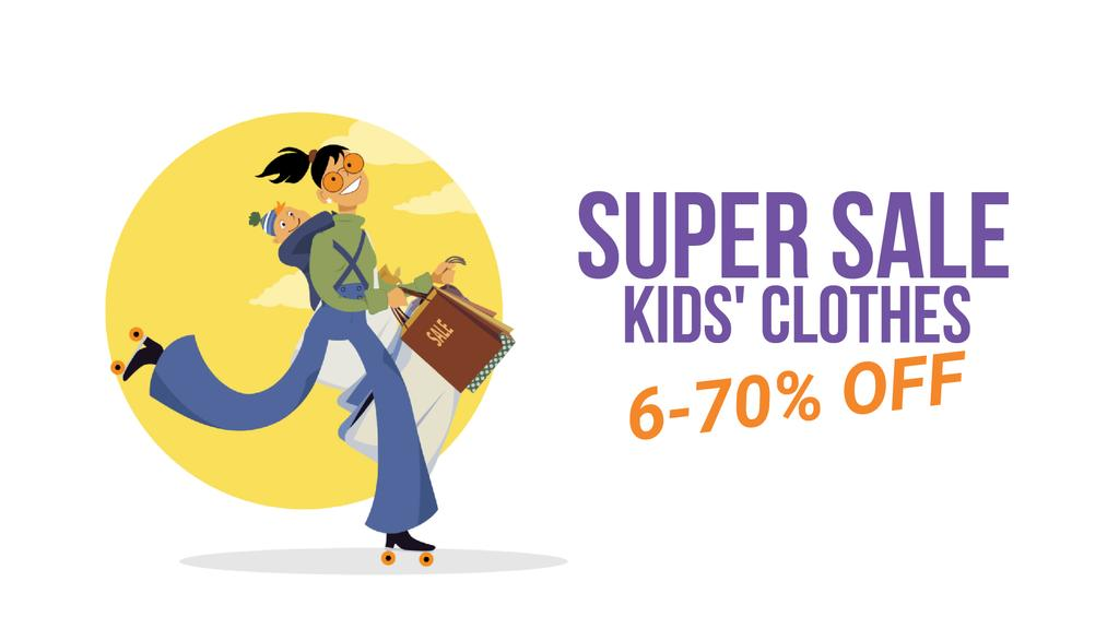Clothes Sale Mother with Baby Shopping on Roller Skates — Crea un design