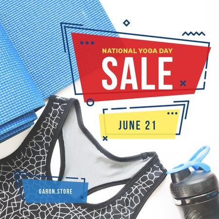 Ontwerpsjabloon van Instagram van Sports equipment set Sale on National Yoga Day