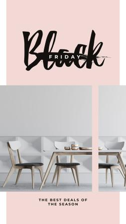 Black Friday Sale Stylish dining room interior Instagram Story Modelo de Design