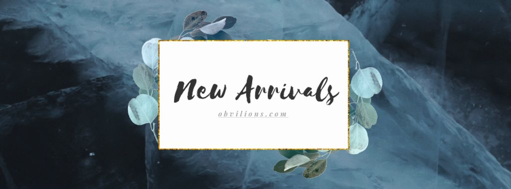 New Arrivals Ad Green Leaves Frame — Create a Design
