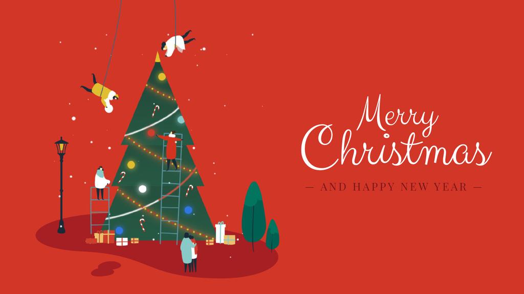 People decorating Christmas tree — Створити дизайн