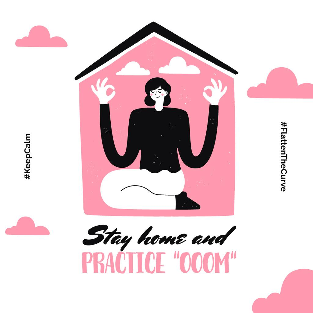 #KeepCalm challenge Woman meditating at Home Instagram Modelo de Design