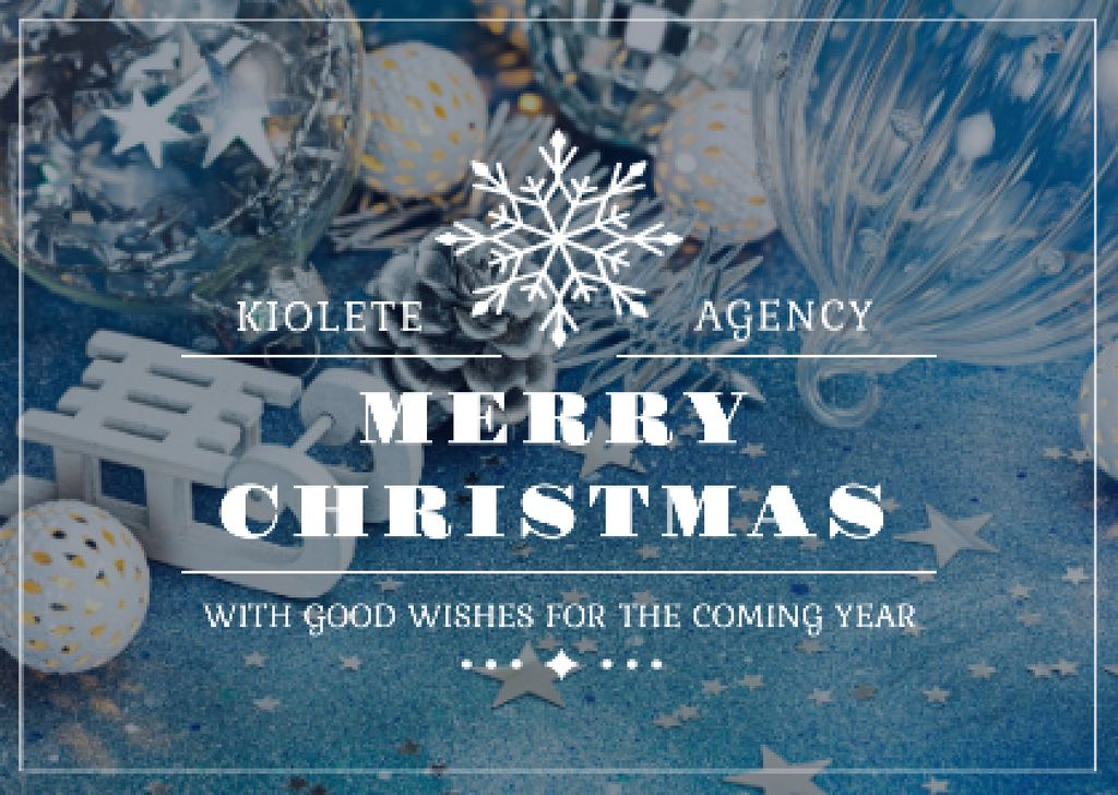 Merry Christmas Greeting with Decorations in Blue — Modelo de projeto