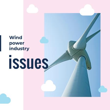 Plantilla de diseño de Wind turbine against blue sky Instagram