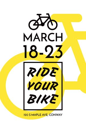 Plantilla de diseño de Cycling Event Announcement Simple Bicycle Icon Tumblr