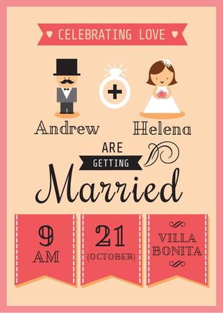 Wedding Invitation with Groom and Bride Flayer Modelo de Design