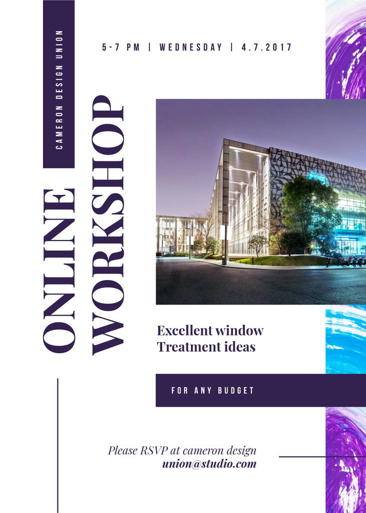 Design Workshop ad with modern glass Building — Create a Design