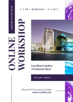 Design Workshop ad with modern glass Building