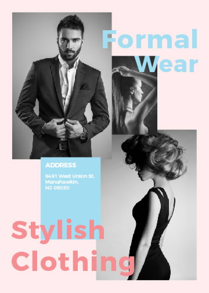 Fashion Ad Woman and Man with modern hairstyles — Створити дизайн