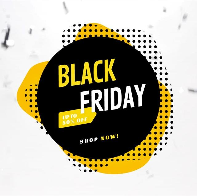 Plantilla de diseño de Black Friday Annoucement in black square Animated Post