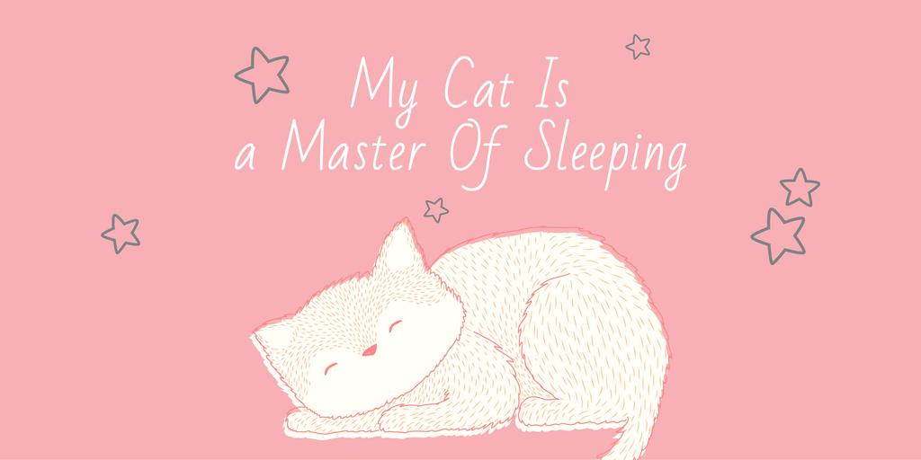 Cute Cat Sleeping in Pink | Twitter Post Template — Modelo de projeto