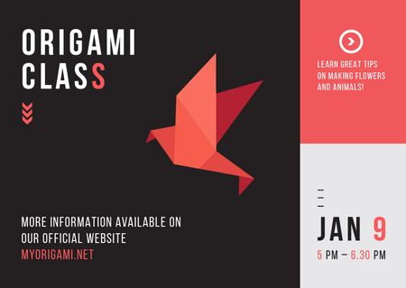 Plantilla de diseño de Origami Classes Invitation Paper Bird in Red Postcard