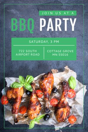 Szablon projektu BBQ Party Invitation with Grilled Chicken Pinterest