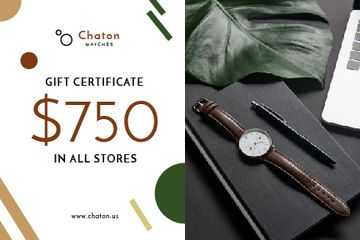 Accessories Store Offer Watch and Notebook | Gift Certificate Template