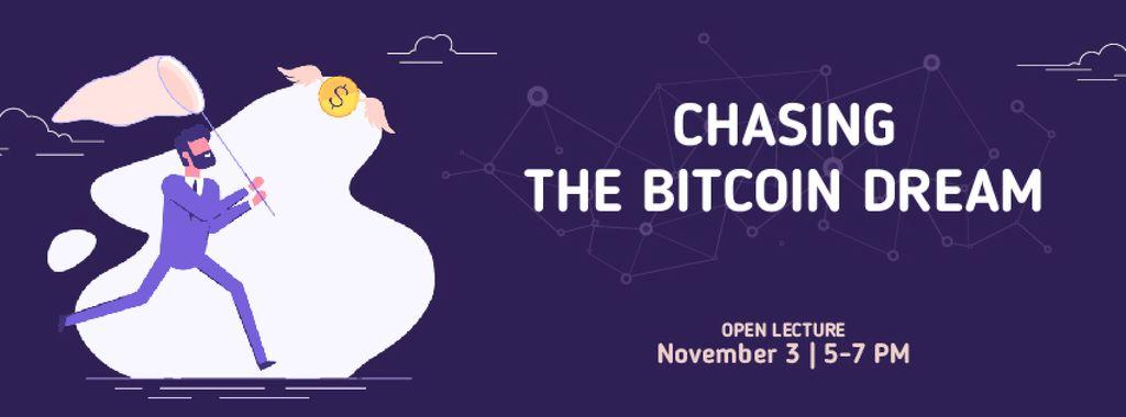 Man chasing Bitcoin money — Modelo de projeto