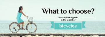 Bicycles Guide Woman Cycling on the Bank | Tumblr Banner Template
