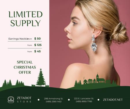 Christmas Offer Woman in Earrings with Diamonds Facebook Design Template