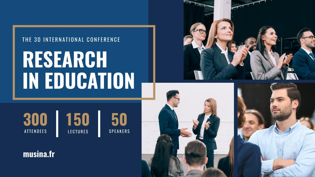 Education Conference Announcement Speakers and Audience — Créer un visuel
