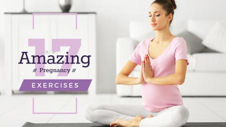 Plantilla de diseño de Pregnant woman practicing yoga Presentation Wide