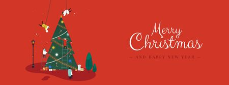 Plantilla de diseño de People decorating Christmas tree Facebook Video cover