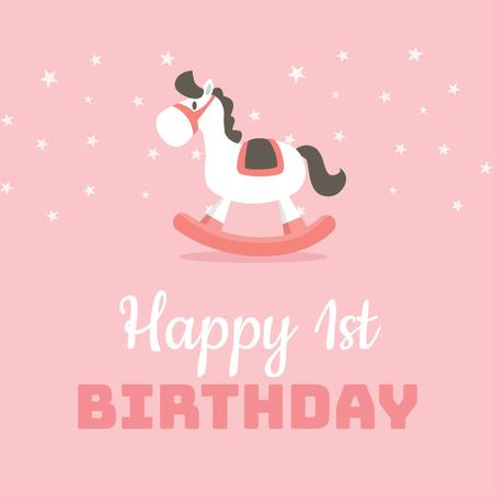 Plantilla de diseño de Birthday Greeting with Rocking Horse Toy Animated Post