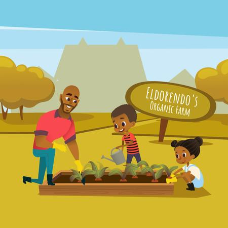 Plantilla de diseño de Kids and father working in garden Animated Post