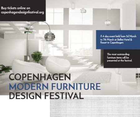 Template di design Furniture Design Festival Modern White Room Large Rectangle