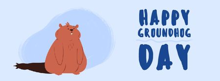 Ontwerpsjabloon van Facebook Video cover van Happy Groundhog Day with funny animal