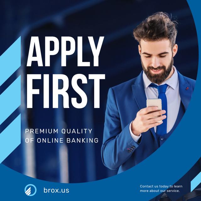 Plantilla de diseño de Online Banking Services Businessman Using Smartphone Instagram