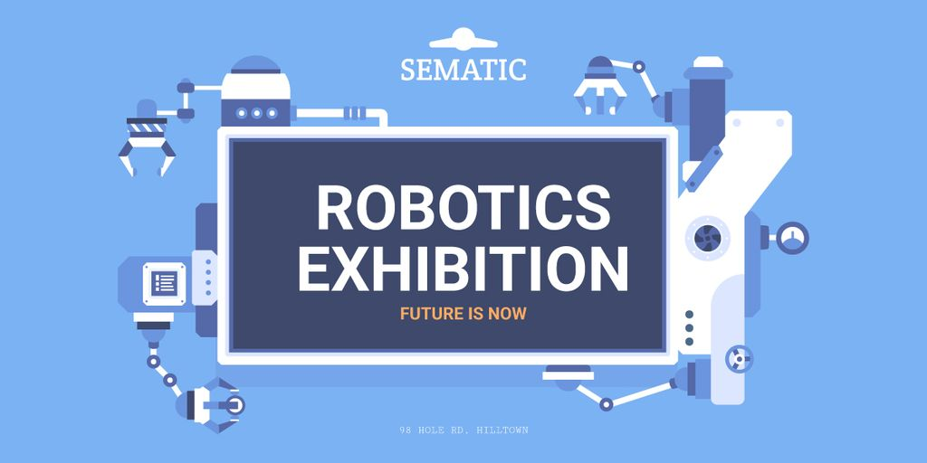 Robotics Exhibition Ad Automated Production Line Image Modelo de Design