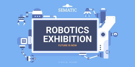 Robotics Exhibition Ad Automated Production Line Image – шаблон для дизайна