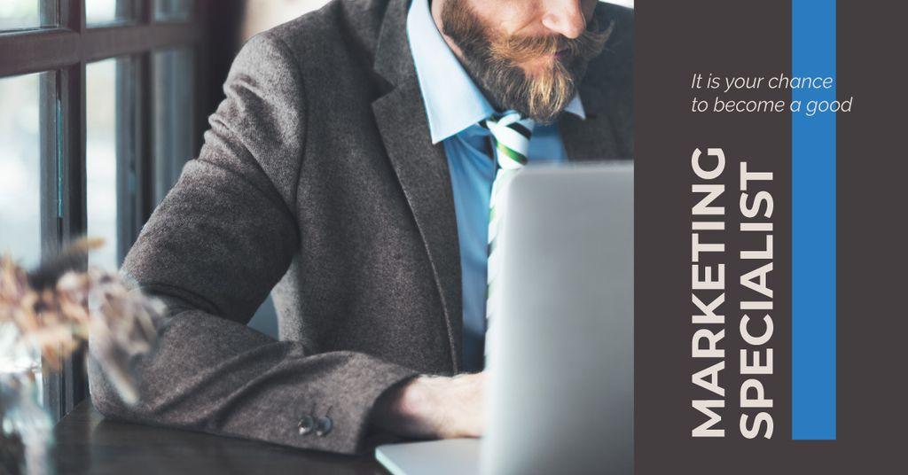 Businessman in formal wear using laptop — Create a Design