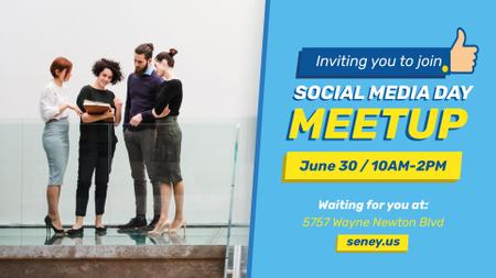 Social Media Day Meetup Colleagues Team FB event cover – шаблон для дизайна