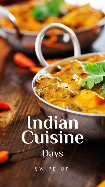 Designvorlage Indian Cuisine Dish Offer für Instagram Story