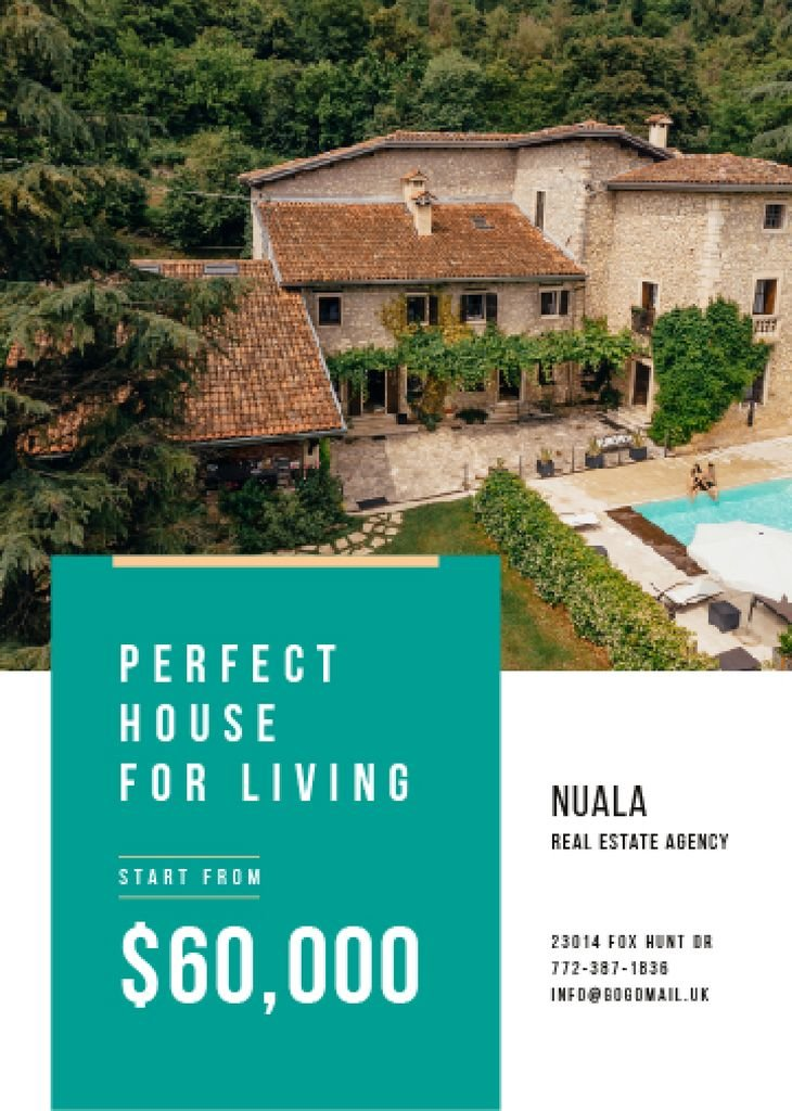 Real Estate Ad with Pool by House — Crea un design